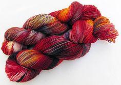 Handdyed yock yarn, 75 wool, 25 nylon 100g 3.5 oz. Nr. 732 by Piratenwolle (affiliate link)