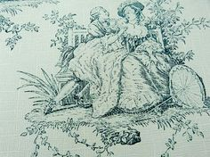 1930 French Vintage Toile de Jouy Guashe Printed by LemonWoods, $14.99