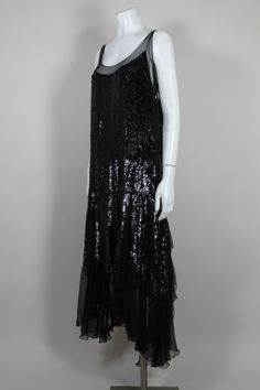 1920's Jet Black Sequined Chiffon Flapper Dress | From a collection of rare vintage evening dresses at http://www.1stdibs.com/fashion/clothing/evening-dresses/