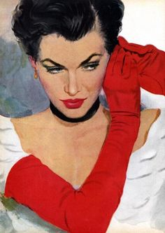 #Vintage Style, Red Gloves & Earrings - artwork by Coby Whitmore, 1950s. Red Gloves, Vintage Art, Vintage Ladies, Retro Art, Vintage Style, Painting & Drawing, Magazine Illustration, Illustration Art, Vintage Illustrations