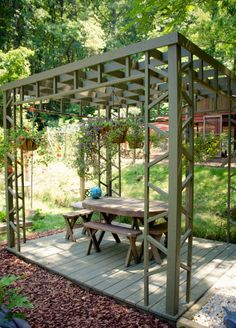 Love this outdoor dining area... and it comes with entertainment (it's next to the chicken coop).