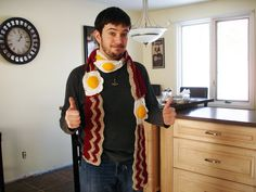 LOVE the bacon and egg scarf!