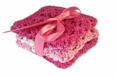 Think Pink Wash Cloths Face Cloths Crocheted Cotton Washcloths Handmade