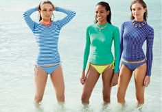 Loving these shirt and bottom swim looks...still very flattering!! Lovin the polka dots!! JCrew 2014