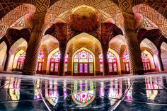 Extraordinary fishbowl #Architecture photos of B'ful #Mosques by #Iran's Mohammed Domiri using extreme wide-angle lens