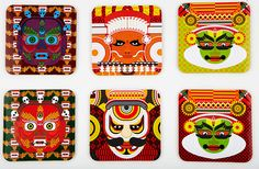 I want to have a kitchen like these trays and maybe I'll even spend some time in it! India meets china: Mask coasters, by The Play Clan Tea Coaster, Indian Crafts, Truck Art, Indian Art Paintings, Book Illustration, Coasters, Artsy, Asian, Art Prints