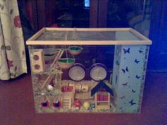 All made from start to finish and most things inside! Make an aquarium tank by constructing, woodworking, and not sewing with perspex. Creation posted by *Danielle*. Mouse Cage, Rodents, Hamsters, Chinchillas, Hamster Cages, Small Turtles, Pet Mice, Diy Stuffed Animals, Pet Accessories