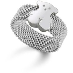 Tous Bear Mesh Ring (2,120 MXN) ❤ liked on Polyvore featuring jewelry, rings, silver, tous jewellery, bear jewelry, bear ring, tous ring and mesh ring