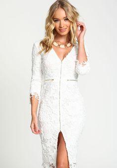 ae55b61b59b Gorgeous white lace overlay dress with deep