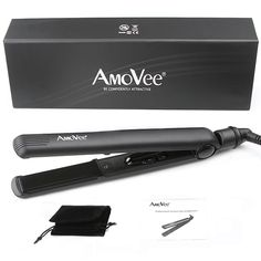 AmoVeePro Dial Flat Iron with Ceramic Plates 1 Inch, CeramicTourmaline Ionic Hair Straightener ** This is an Amazon Affiliate link. Check this awesome product by going to the link at the image.
