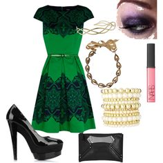 holiday ish...love those shoes and the color of the dress!