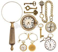 collection d'accessoires vintage or, des bijoux et des objets — Image #52413001