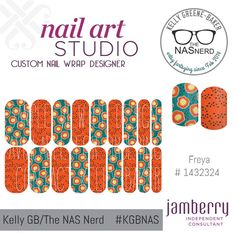 Click for the insta-link to The NAS Nerd's Marketplace Designer Studio! Express your style w/ custom nail wraps!  • Don't have a personal consultant of your own? New to the Jamberry Universe? Message me on my Facebook Fan Page w/ design requests or an invite to join my VIP customer group! www.facebook.com/KellyGBTheNASNerd/  • nail art cosplay diy manicure pedicure lacquer gel kgbnas freya orange teal peacock floral flowers dots garden spring trendy modern pretty summer