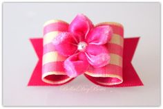 Rose & Yellow Gingham Bow with Rose Satin Flags by BellasDogBows, $7.99