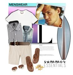 """""""Summer Menswear Essentials"""" by pattykake ❤ liked on Polyvore featuring BoConcept, Reef, Gucci, English Laundry, MANGO MAN, C.R.A.F.T., Banana Republic, Ray-Ban, menswear and summeressentials"""