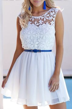 Crochet Flower Sleeveless Backless Dress