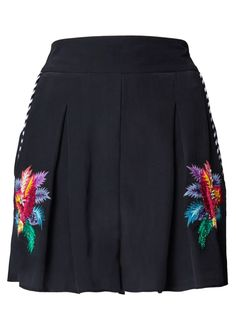 Black Jungle Embroidered Shorts - Trousers & Skirts - Matthew Williamson