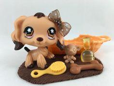 Littlest Pet Shop RARE Brown & Tan Cocker Spaniel #575 w/Bed & Accessories #Hasbro Lps Littlest Pet Shop, Little Pet Shop Toys, Little Pets, Doll Toys, Barbie Dolls, Lps Sets, Palace Pets, Pet Gate, Cocker Spaniel