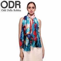 Odd Della Robbia 2017 Summer Print Silk Beach Scarf for Women Oversized Wrap Female Sunscreen Cover Up Long Cape C131