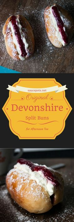 Delicious Devonshire Split Buns are a traditional treat at an English Cream Tea! English Desserts, British Desserts, British Recipes, English Recipes, British Baking, British Bake Off, Scones, Cream Bun, Latte