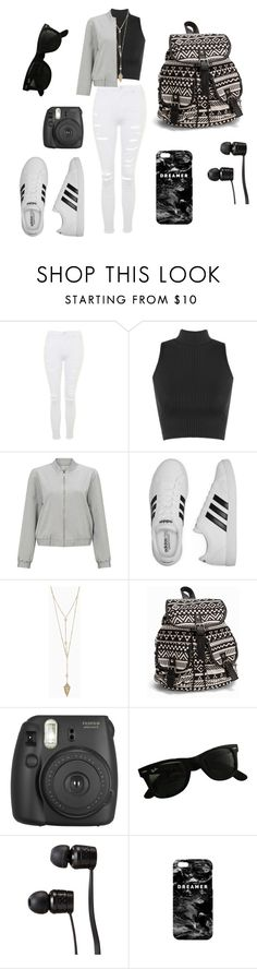 """Black and White"" by jennvalphen ❤ liked on Polyvore featuring Topshop, WearAll, Miss Selfridge, adidas, NLY Accessories, Fujifilm, Ray-Ban, Vans, Mr. Gugu & Miss Go and croptop"
