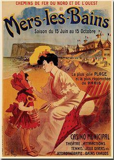 Plage Mer Les Bains , France , Atlantique, chermin de fer du nord et de l'ouest mers les bains. Vintage travel beach poster #affiche #essenzadiriviera www.varaldocosmetica.it/en