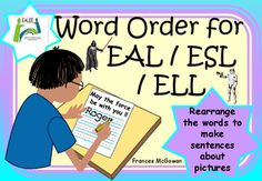 Browse over 230 educational resources created by EALEE in the official Teachers Pay Teachers store. Esl Resources, Reading Resources, Teacher Resources, English Language Learners, Language Arts, English Vocabulary, Making Sentences, Sentence Construction, Word Order