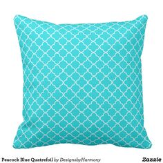 Peacock Blue Quatrefoil Throw Pillow