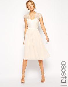 ASOS TALL Scallop Lace Edge Midi Dress