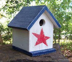 Primitive Birdhouse - Rustic Reclaimed Wood, Handpainted Red White & Blue Americana via Etsy