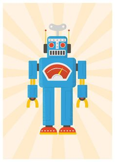 Restyle poster blauwe robot