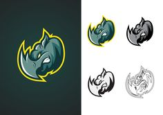 Vector rhinoceros head mascot logo