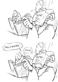 Inquisitor Adaar reading Varrics books.