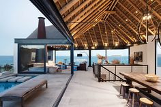 Home Designs: Amazing Outdoor Spaces - Thatched Roof Beach House with Outdoor Entertaining Spaces Cabinet D Architecture, Interior Architecture, Vernacular Architecture, Residential Architecture, Indoor Outdoor Living, Outdoor Spaces, Outdoor Retreat, Exterior Design, Interior And Exterior