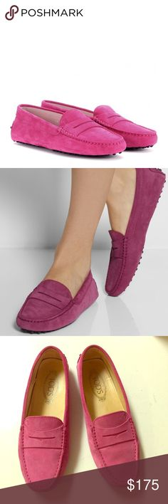 e21696d57cf Tod s pink Suede leather driving shoes NEW TOD S Gommino Women s Pink Suede  Leather Moccasins Driving Shoes Tod s Shoes Flats   Loafers