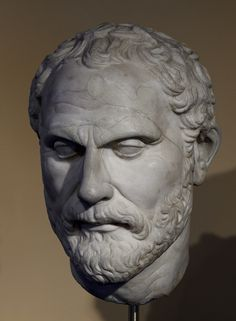 Demosthenes, head of Roman statue (marble), copy after Hellenistic original by Polyeuctos, ? (original 3rd c. BC), (Museo Barracco, Rome).