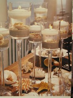 Candles, Centerpieces, Table decoration, Sand, Seashells, Candle holders