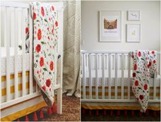 LOVE the red fringe on this crib skirt. YIKES too cute!