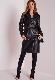 Missguided - Faux Leather Trench Coat with Shearling Collar Black