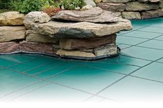 Loop Loc's mesh pool cover is made with a denser weave that blocks virtually all sunlight. http://www.midamericasales.net/loop-loc/super-dense-mesh-covers
