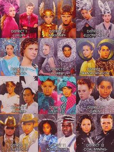 The 74th Hunger Games Tributes in their extremely-ridiculous-capitol-like clothes...the exception goes to clato and clove that look fierce and katniss and peeta who look AWESOME :)