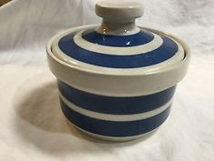 BLUE AND WHITE STRIPED ENGLISH POTTERY SUGAR BOWL WITH LID  | eBay