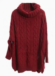 Wine Red Turtleneck Cable Knit Sweater #jumper #oversized #winter #comfy