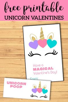 Valentine's Day Card for kids classroom. Unicorn horn valentine to attach treats to. day cards for kids printable Free Printable Unicorn Valentine Cards - Paper Trail Design Unicorn Valentine Cards, Free Valentine Cards, Printable Valentines Day Cards, Valentines Day Party, Valentines For Kids, Valentine Day Crafts, Homemade Valentines, Valentine Cards For School, Cute Valentine Ideas