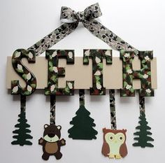 camo name sign.. cute for baby's room one day
