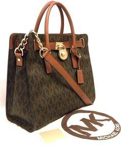 7baa4c1bf1d2 Michael Kors Hamilton Brown MK Signature PVC Large Tote Bag for sale online  | eBay