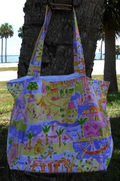 Shopping Tote Large-Eco Friendly-Grocery Bag-Diaper Bag-Beach Bag-Carry On-Library Tote-Craft Bag-Market Bag-Reusable-Washable-Paris Scene by sewlittletime2009 on Etsy