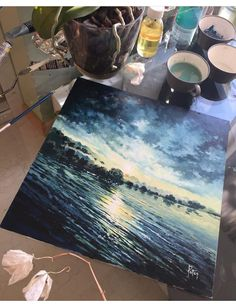 Amazing Drawings, Amazing Art, Art Drawings, Painting Inspiration, Art Inspo, Seascape Paintings, Aesthetic Art, Love Art, Les Oeuvres