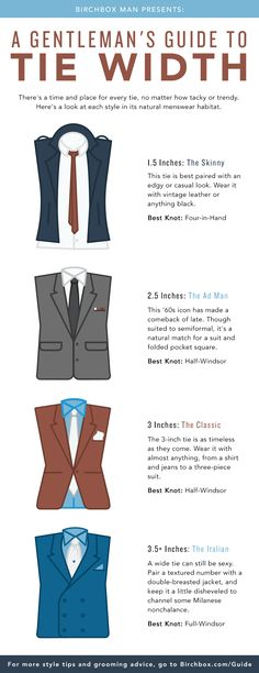 From skinny to superwide, here's how to properly deploy your neckwear. Courtesy of @birchboxman.