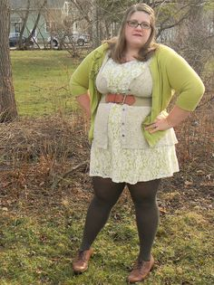 Curvy style - I love the cardigan over the belt over the shirt over the dress!